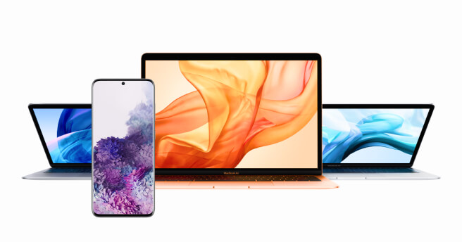 9 Samsung S20 phones and 9 MacBook Air laptops image